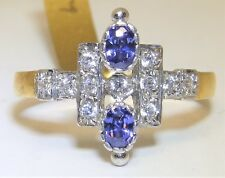 ART DECO STYLE 9CT GOLD ON SILVER TANZANITE CLUSTER  STATEMENT RING SIZE N 1/2