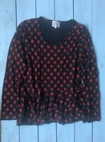 Masai Black Red Floral Rose Print Frill Hem Long Sleeve Top M - B32