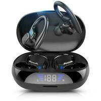Sports Wireless Earphones Bluetooth Bass Stereo Headphones Ear Headset Hook Q3R8