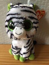 """Ty Beanie Boo Boos ZIG-ZAG the Zebra 6"""" (Sparkle Eyes) RED Tag MWMT Free Ship!!"""