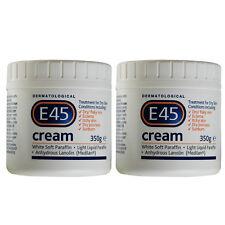 Dermatological E45  Face Body Moisturiser Cream for Dry Skin 2 x 350 g Tubs