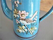 Ancienne cafetiére émaillée oiseau fleurs fort  relief  enamel coffee maker