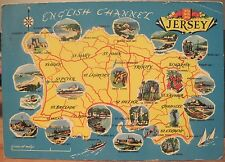 UK Postcard Jersey CHANNEL ISLANDS Pictorial Map Cartoon 1962 Towns Recreation