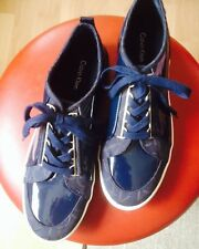 NEU! Damen Halbschuhe Calvin Klein Lack blau, Gr. 39
