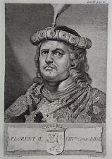 Gravure Antique print FLORENT II Comte de Hollande Flipart Count of Holland