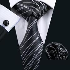 100% Pure Soie Cravate Boutons de Manchette et Mouchoir Set Noir Avec Argent Ondulé lignes