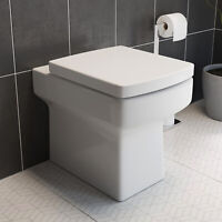 Back to Wall Toilet BTW Bathroom Modern Pan Square Cloakroom Soft Close Seat