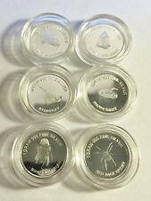 "Set of 6 ""Danger Series"" 1 Gram 999.0 Pure Silver Bullion Coins (Total 6 Grams)"