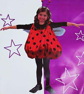 Costume bambina COCCINELLA vestito CARNEVALE rosso pois  tg 4 - 6 - 8 anni