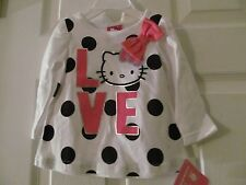 NWT Girls size 12-18 mos. HELLO KITTY SHIRT TOP, White, Pink & Black Polka Dot