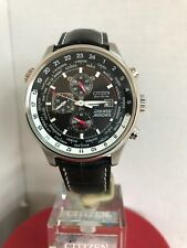 Citizen Men's Eco-drive Red Arrows World Time Chronograph B.Leather Strap Watch