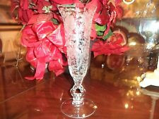 CAMBRIDGE WILDFLOWER ETCHED CRYSTAL FOOTED LARGE KEY HOLE STYLE VASE!....WOW!