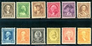 USAstamps Unused VF US 1932 Washington Bicentennial Set Scott 704-715 OG MNH