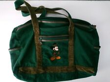 Vintage Mickey Mouse Golf Green Duffle Weekend Bag Embroidered Corduroy