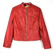 SoCa ST JOHN Red Lamb Leather Classic Full Zip Lined Moto Jacket Pockets Size M