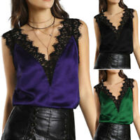 Women Lace Blouse Vest Tanks Tops Sleeveless Casual Tops Summer Sexy T-Shirt