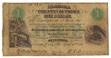 1866 The County of Autauga, Alabama - One Dollar Obsolete Note No.785 - Rare