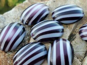 True Vintage German Candy Stripe Oval Cabochons Cabs DIY Jewelry Making & Craft