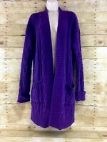 Lauren Ralph Lauren Sweater Cardigan Tunic Long Cable Knit Open Front Chunky