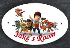 Personalised DOOR PLAQUE Sign PAW PATROL Any Name Kids Room Child's Bedroom