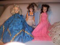 Vtg 50's Plastic  Dolls Lot of 5 1950's Girls Toy With Vintage Dresses