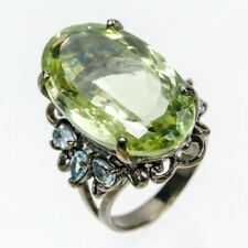 Handmade Natural Green Amethyst 925 Sterling Silver Ring Size 8/R75161