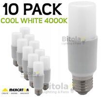 NEW 10 x MERCATOR 10W LED TUBULAR GLOBE E27 SCREW IN- COOL WHITE 4000K PACK LAMP