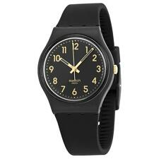 New Swatch Golden Tac Black Silicone Women Watch 35mm GB274 $60