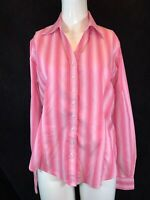 T.M. LEWIN Women's Pink Multi Stripe, Button Cuff Blouse / Shirt. Size UK 14