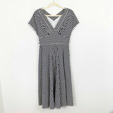 Maggy London Womens Dress Size 6 Fit and Flare Midi Sleeveless V-Neck Stripe