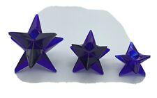 COBALT BLUE VINTAGE SET OF THREE GEOMETRIC STAR SHAPED CANDLE HOLDERS.