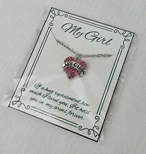 My Girl Pendant Necklace - Gift for Her Love Heart Romantic Valentine Gift Card