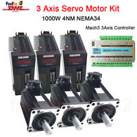 3Axis 1KW AC Servo Motor Drive 4NM NEMA34 Mach3 Motion Controller Caving Cutting