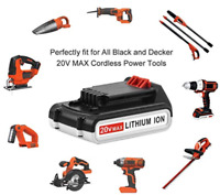 20 Volt Replacement 20v MAX 2.0ah Lithium Ion Battery Only for Craftsman Bolt On