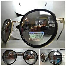 Men or Women VINTAGE RETRO Style SUNGLASSES Matte Black & Gold Frame Mirror Lens