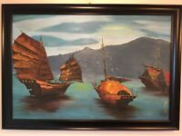Vintage framed signed original oil painting Halon Harbour by Mary Hill LARGE