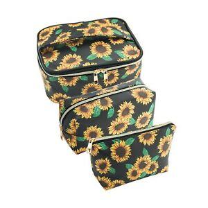 SUBANG 3 Pack Sunflower Makeup Bag Toiletry Bag Travel Bag Portable Cosmetic ...