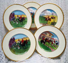 MINTON ENGLISH HUNTING SCENE HAND PAINTED SET OF 4 PLATES CIRCA 1902