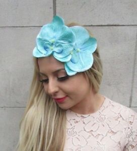 Turquoise Sea Green Orchid Flower Fascinator Headband Races Headpiece Crown 5267