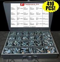Grade 5 Zinc Serrated Hex Flange Bolt & Flange Nut Assortment Kit - 410 Pieces!