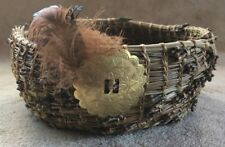 Handmade Bear Paw Pine Needle Basket Decorated with Concho and Feathers