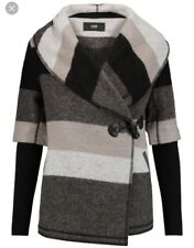 $415 Women's Grey Blossom Striped Wool-blend Felt Coat Size Small the outnet