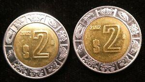 2002 Mexico 2 Nuevo Peso BiMetallic 23mm KM 604 (C948)
