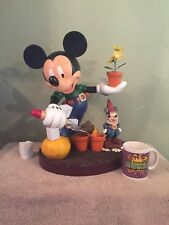Disney Big Fig Figure Statue Mickey Mouse with Gnome Gardening Figurine