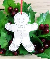 PERSONALISED GINGERBREAD MAN CHRISTMAS TREE DECORATION BAUBLE XMAS GIFT SILVER