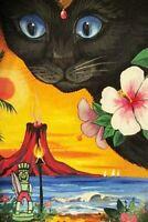 4X6 POSTCARD RYTA LE 1/200 BLACK CAT HAWAII HAWAIIN VACATION TROPIC BEACH TIKI