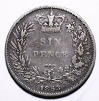 1853 United Kingdom (UK) Six 6 Pence - Victoria 1st portrait; 1st type - Lot