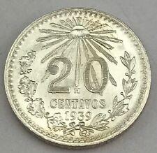 1943 Mexico 20 Centavos 72% Silver 3.3 GR  ***UNC*** BU UNCIRCULATED COIN