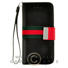 Apple iPhone 5C/i5C/Lite Wallet Pouch Black with Green/Red Canvas Stripe Case