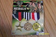 MILITARY COMBAT WAR HERO 3 MEDALS COSTUME ACCESSORY FM66224